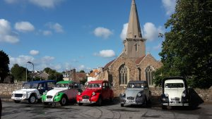 2cv outside St Martin Church